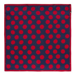 Women's small silk scarf, navy blue-red, 91-7D-S14-X14, Photo 1