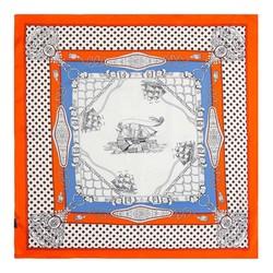 Apaszka z jedwabiu mała, biało-pomarańczowy, 91-7D-S14-X6, Zdjęcie 1