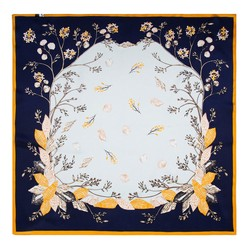Women's silk scarf, white-navy blue, 91-7D-S14-X8, Photo 1