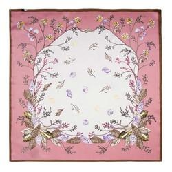 Apaszka z jedwabiu mała, różowo - biały, 91-7D-S14-X9, Zdjęcie 1