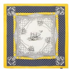 Apaszka z jedwabiu, żółto - granatowy, 93-7D-S01-15, Zdjęcie 1