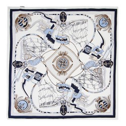 Women's neckerchief, white-navy blue, 89-7D-S14-X17, Photo 1