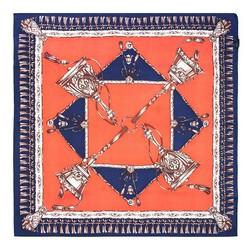 Women's neckerchief, navy blue- orange, 89-7D-S14-X6, Photo 1