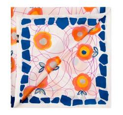 Apaszka damska, niebiesko - pomarańczowy, 85-7D-S12-X4, Zdjęcie 1