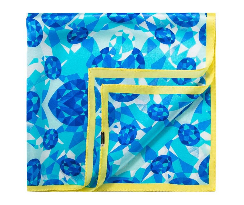 Шарф женскийЖенский шейный платок выполнен из шелка с знаком наивысшего качества King Silk. Преимуществом модели являются ее яркие и неординарные узоры, благодаря чему платок может заменить ювелирные изделия.<br><br>секс: женщина<br>Цвет: голубой<br>материал:: Шелк