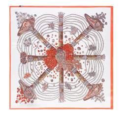 Apaszka z jedwabiu, kremowo-pomarańczowy, 93-7D-S01-19, Zdjęcie 1