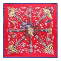 Apaszka z jedwabiu, czerwono - żółty, 93-7D-S01-21, Zdjęcie 1