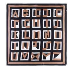 Apaszka z jedwabiu, brązowo - czarny, 93-7D-S01-34, Zdjęcie 1