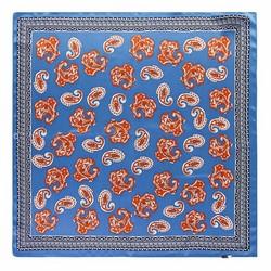 Apaszka z jedwabiu, niebiesko - pomarańczowy, 93-7D-S01-36, Zdjęcie 1