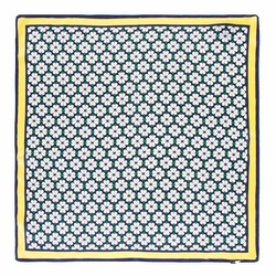 Apaszka z jedwabiu, żółto - granatowy, 93-7D-S01-39, Zdjęcie 1