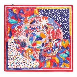 Apaszka z jedwabiu, czerwono - zielony, 93-7D-S01-47, Zdjęcie 1