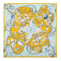 Women's small silk scarf, blue-yellow, 91-7D-S14-X11, Photo 1