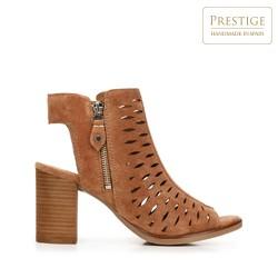 High block heel cutout sandals, camel, 92-D-160-5-37, Photo 1