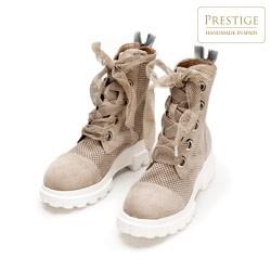 Suede lace up combat boots, beige, 92-D-162-9-39, Photo 1