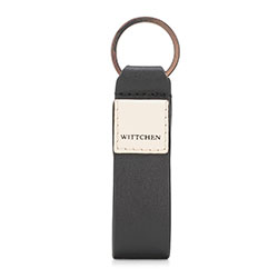 Leather logo keyring, black-beige, 26-2-089-19, Photo 1