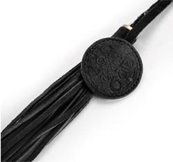 Brelok z nubuku z frędzlami, czarny, 04-2-012-1, Zdjęcie 1