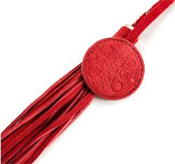 Brelok z nubuku z frędzlami, czerwony, 04-2-012-3, Zdjęcie 1