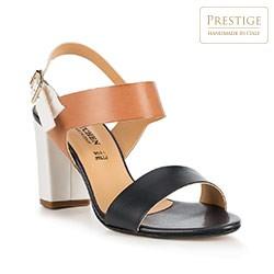 Damskie sandały z kolorowych skór, granatowo - brązowy, 86-D-403-7-37, Zdjęcie 1