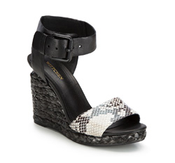 Women's wedge sandals, black, 86-D-653-1-40, Photo 1