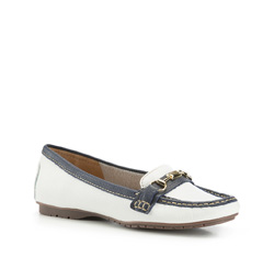 Women's moccasins, white-navy blue, 86-D-704-0-36, Photo 1