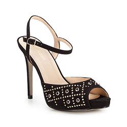 Damskie sandały z zamszu z różnorodnymi nitami, czarny, 86-D-754-1-38, Zdjęcie 1