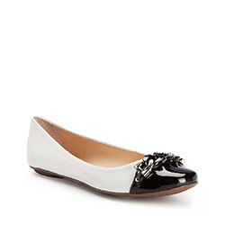 Women's ballerina shoes, white-black, 86-D-756-0-38, Photo 1