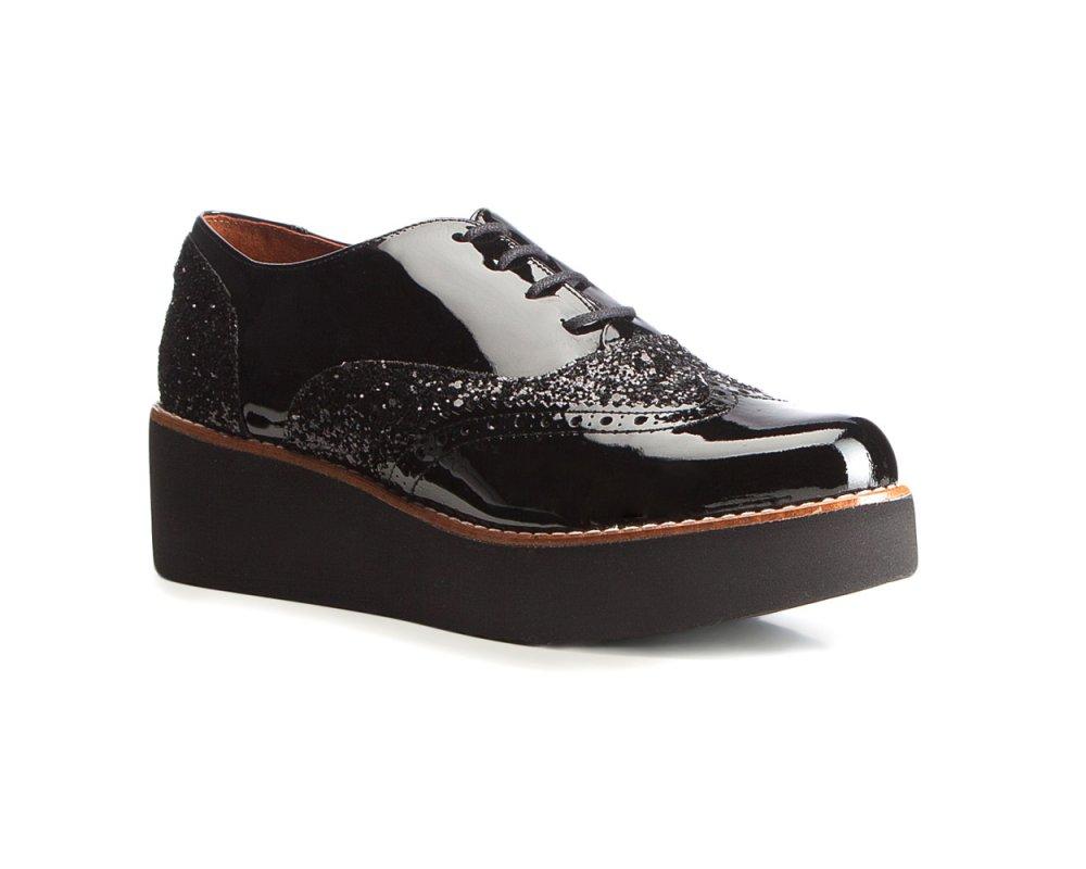 buty ze skórki czarne na podwyższeniu damskie