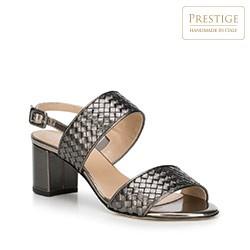 Damskie sandały ze skóry metaliczne, szary, 88-D-106-8-40, Zdjęcie 1