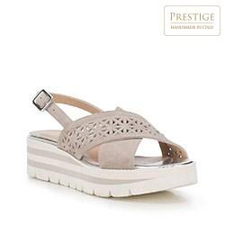 Damskie sandały zamszowe z ażurowym paskiem, szaro - biały, 88-D-110-9-37, Zdjęcie 1