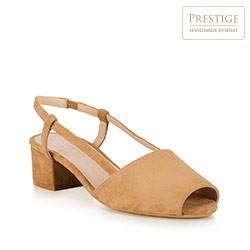 Damskie sandały z zamszu peep toe, beżowy, 88-D-152-9-39, Zdjęcie 1