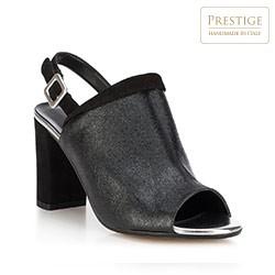 Damskie sandały skórzane zabudowane, czarny, 88-D-402-1-40, Zdjęcie 1