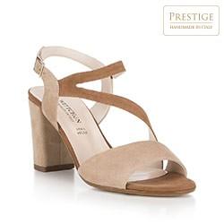 Damskie sandały z miękkiego zamszu, beżowo - brązowy, 88-D-404-9-39, Zdjęcie 1