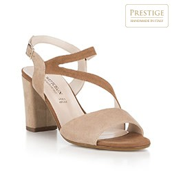 Damskie sandały z miękkiego zamszu, beżowo - brązowy, 88-D-404-9-41, Zdjęcie 1