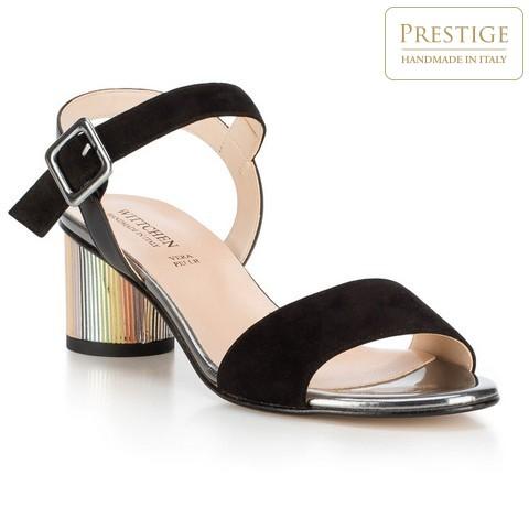 Damskie sandały zamszowe na kolorowym słupku, czarny, 88-D-405-1-36, Zdjęcie 1