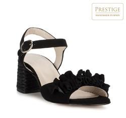 Damskie sandały zamszowe z marszczeniem, czarny, 88-D-450-1-39, Zdjęcie 1