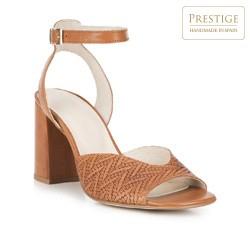 Damskie sandały z tłoczonej skóry, jasny brąz, 88-D-453-5-41, Zdjęcie 1