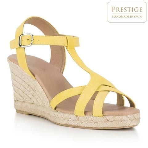 Damskie sandały espadryle z zamszu, żółty, 88-D-502-9-41, Zdjęcie 1