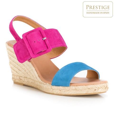 Damskie sandały espadryle z kolorowego zamszu, różowo - niebieski, 88-D-505-7-40, Zdjęcie 1