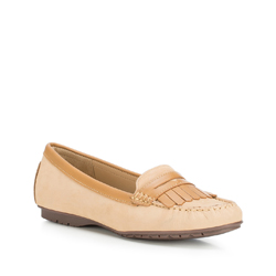 Women's moccasins, light brown, 88-D-701-3-39, Photo 1