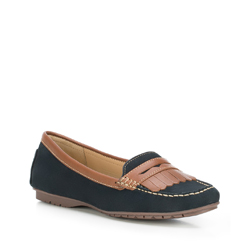 Women's moccasins, navy blue, 88-D-701-7-37, Photo 1