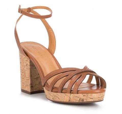 Damskie sandały skórzane na korku, Brązowy, 88-D-708-7-42, Zdjęcie 1