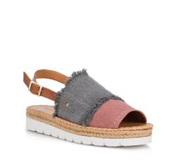 Damskie sandały z nubuku strzępione, szaro - różowy, 88-D-709-X-37, Zdjęcie 1