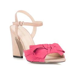 Damskie sandały nubukowe z kokardą, malinowy, 88-D-752-M-37, Zdjęcie 1