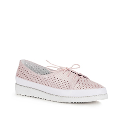 Damskie sneakersy ażurowe na platformie, biało-różowy, 88-D-950-P-41, Zdjęcie 1