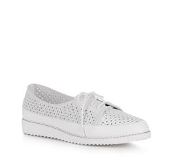 Damskie sneakersy ażurowe na platformie, biało - srebrny, 88-D-950-S-36, Zdjęcie 1