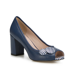 Women's peep court shoes, navy blue, 88-D-964-7-35, Photo 1
