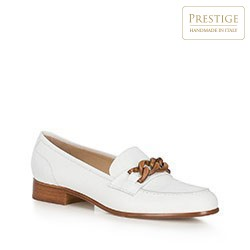 Damskie loafersy skórzane ze skórzaną sprzączką, biały, 90-D-104-0-35, Zdjęcie 1