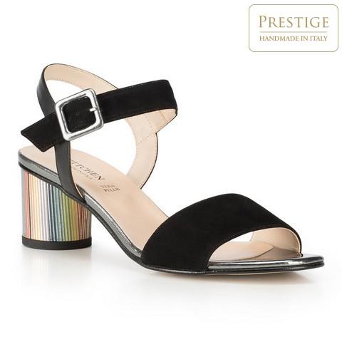 Damskie sandały zamszowe na kolorowym słupku, czarny, 90-D-401-1-37, Zdjęcie 1