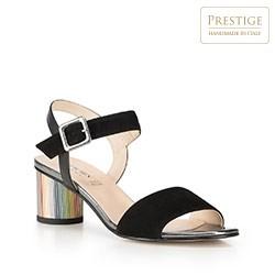 Sandały zamszowe na kolorowym słupku, czarny, 90-D-401-1-40, Zdjęcie 1