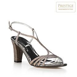 Sandały na słupku srebrne, srebrny, 90-D-402-S-37, Zdjęcie 1